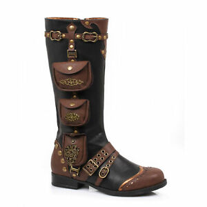 Ellie 181-SILAS Black 1 Inch Costume Women's Steam Punk Faux Knee High Boot New