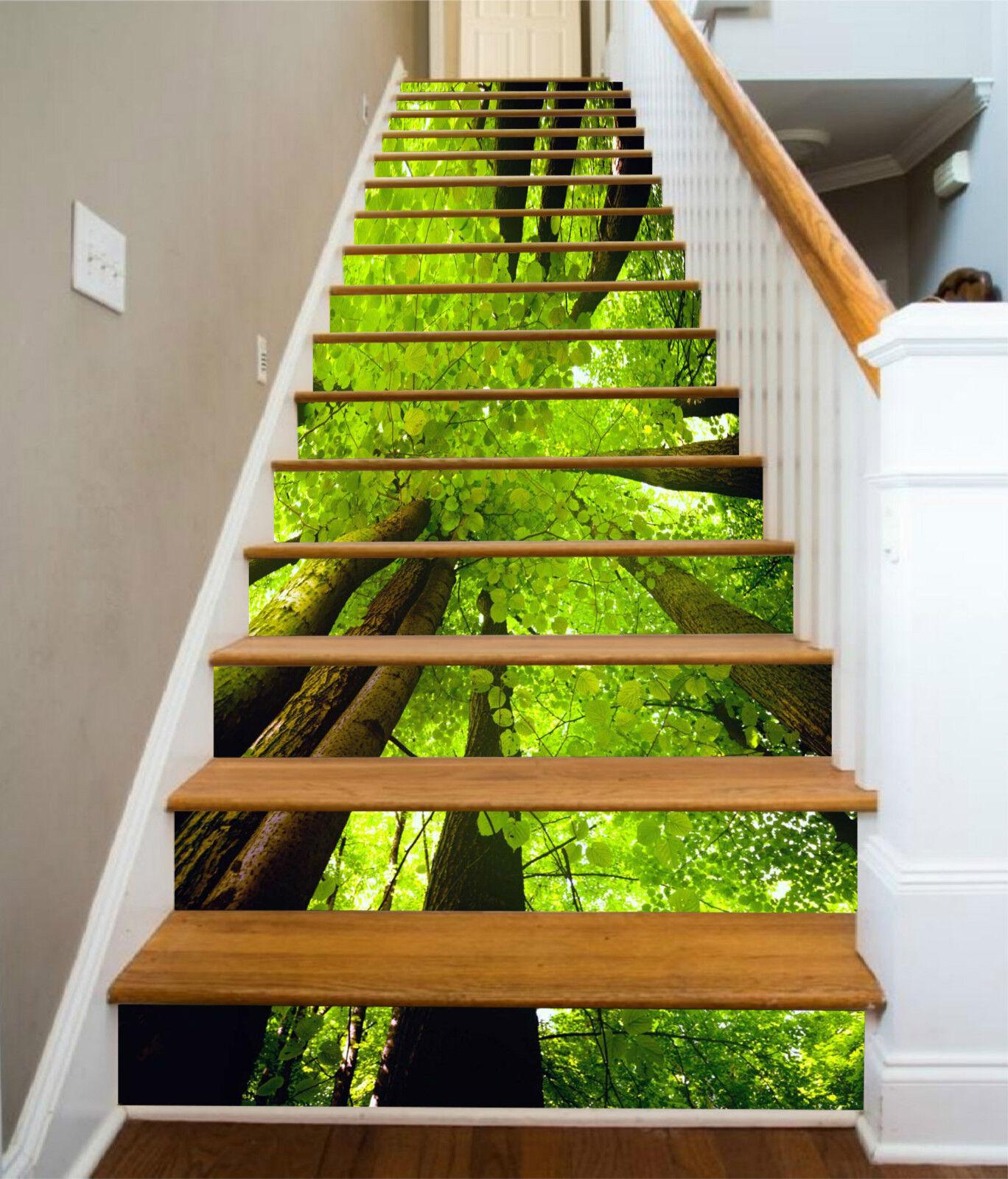 3D green Baum 656 Stair Risers Dekoration Fototapete Vinyl Aufkleber Tapete DE