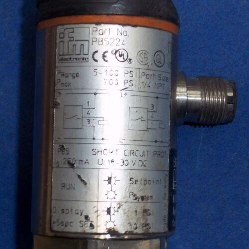"PB5224 *PZF* IFM ELECTRONIC 18-30VDC  5-100 PSI RANGE 1//4/"" NPT PRESSURE SENSOR"