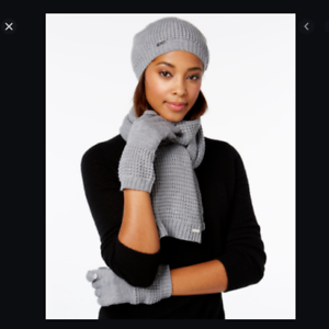 Calvin-Klein-3-Pc-Waffle-Knit-Scarf-Hat-amp-Touch-Gloves-Gray-MSRP-88