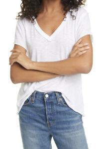 New-We-The-Free-People-Kaylen-Medium-Tee-T-Shirt-V-Neck-White-Raw-Edge-NWT