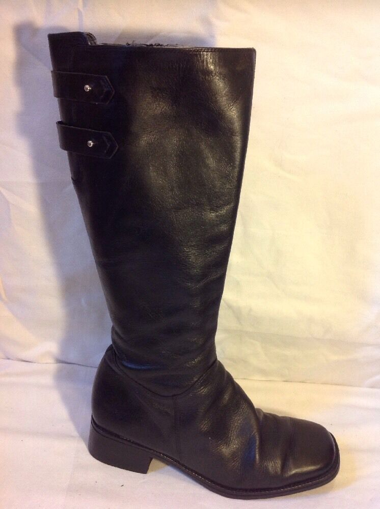 Roberto Vianni Black Knee High Leather Boots Size 40