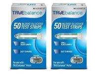 TRUEbalance Diabetic Blood Glucose Test Strips, 2 x 50ct Box