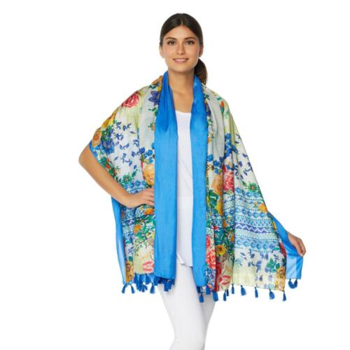 Woven Silk IVORY Clever Carriage Nantucket Rose Wrap BLUE $169.90 NEW Scarf