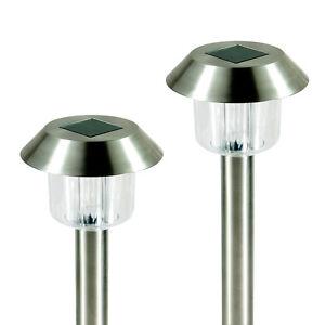 24 Outdoor Garden 2 LED Stainless Steel Bright White Solar Lights Lamp Post C
