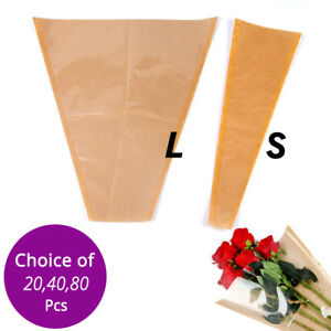 Details About Two Size Clear Front Kraft Paper Back Cone Christmas Bouquet Flower Wrapping Bag