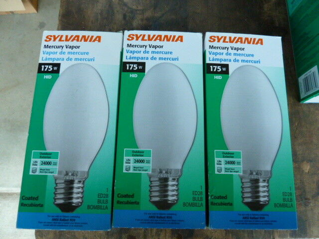 3 New Sylvania 175w Mercury Vapor Coated Light Bulb Ed28 Base H39kc 175