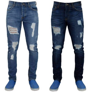 Enzo-Mens-Ripped-Skinny-Jeans-Slim-Fit-Distressed-Denim-Pants-Trousers-28-40