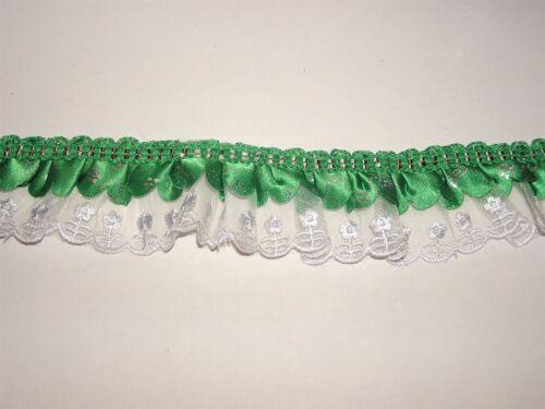 Mercerie Broderie★Galon Passementerie 45mm vert blanc★Au metre NEUF Couture