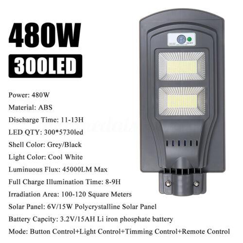 250//480//680W LED Solar Straßenlaterne Straßenbeleuchtung Bewegungsmelder Remote