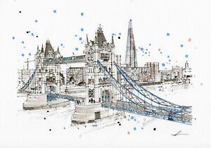 London-Scenic-Art-A3-Poster-Print-of-Tower-Bridge-on-Premium-Linen-Paper