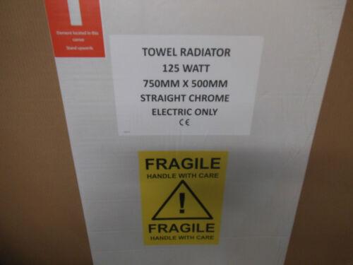 750 x 500 New Chrome Electric  19mm Towel Rail