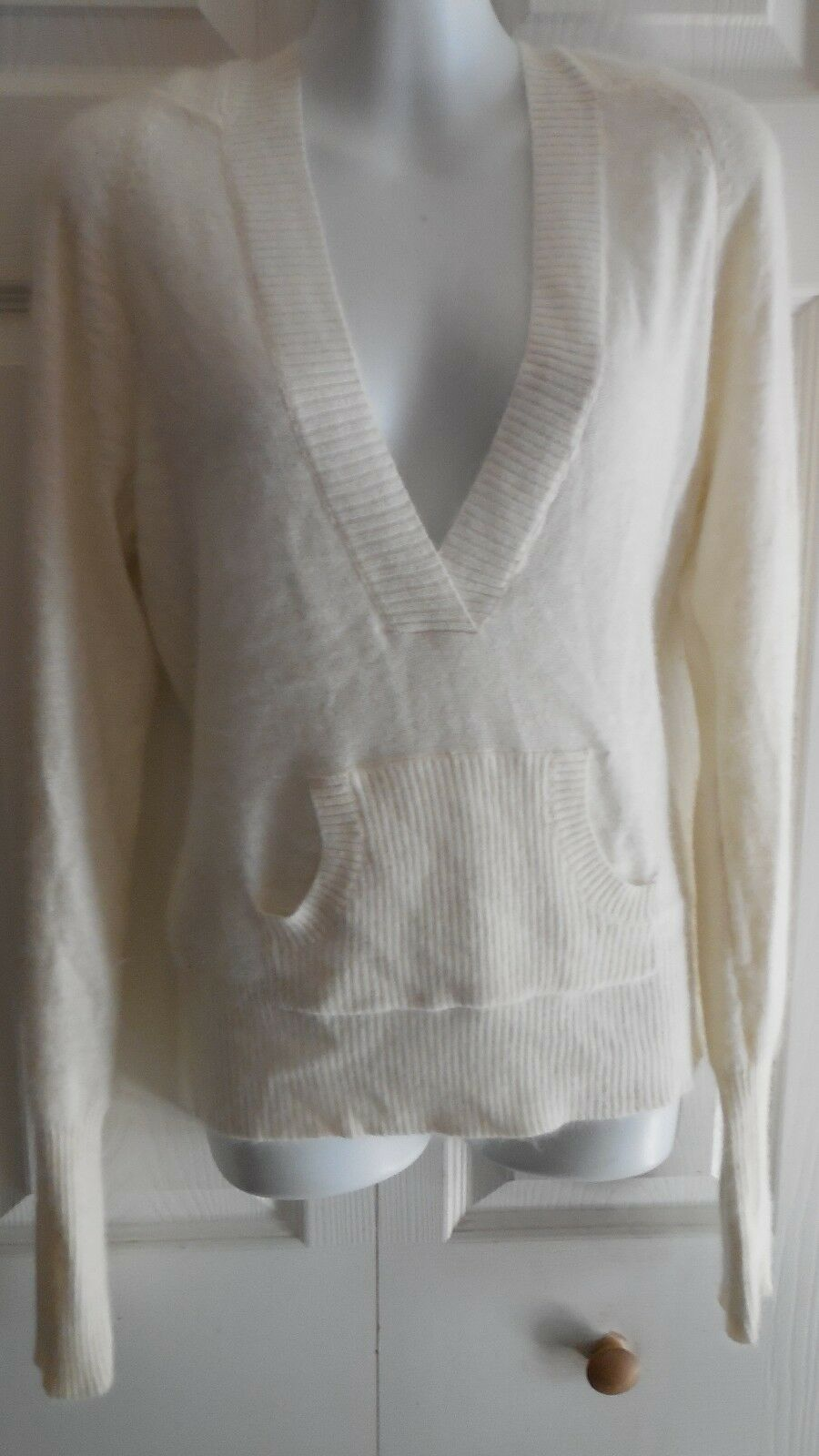 NWT LUCIDITY OFF WHITE FUZZY FLUFFY ANGORA LONG HOODIE SWEATER  M