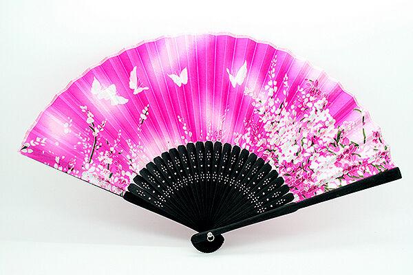 Chinese Japanese Bamboo Hand Held Folding Butterfly Pattern Silk Fan Bright Pink