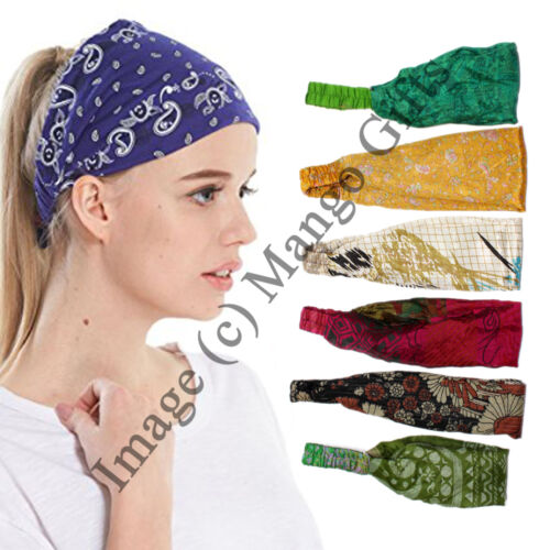 Fashion Femmes Yoga élastique Bow Hairband Silk Sari Hair Band Headband Wholesale