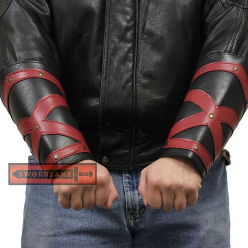 Dark Knight Medieval Templar Red Cross Crusader Leather Bracers Black Cosplay