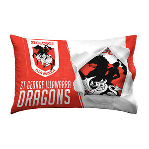 St-George-Illawarra-Dragons-NRL-Pillow-Case-Pillowcase-Birthday-Gift-NEW-2017