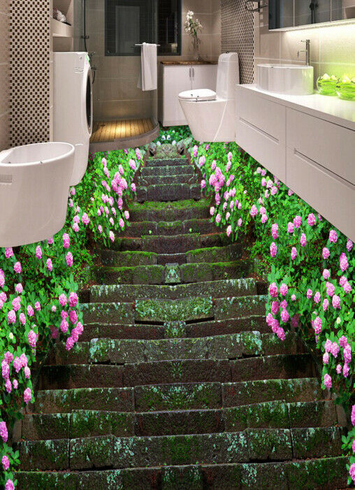 3D Flowers Steps 643 Floor WallPaper Murals Wall Print 5D AJ WALLPAPER UK Lemon