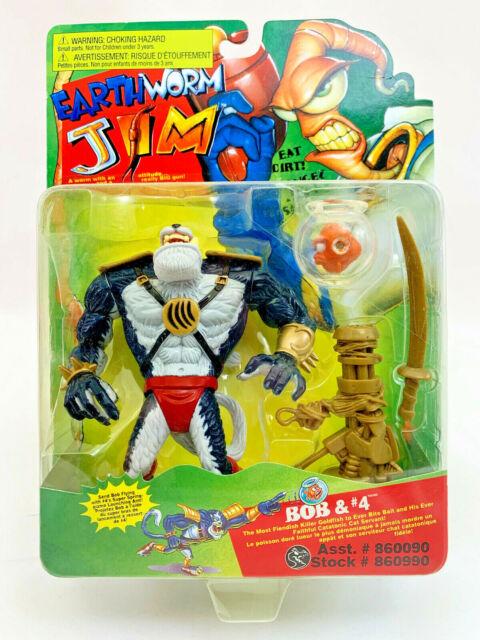 Vintage Earthworm Jim Bob & #4 (Playmates-1994) Mint on Card