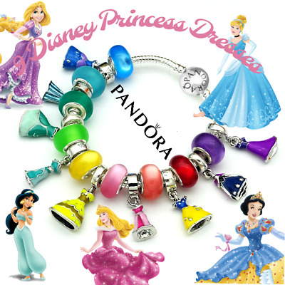 AUTHENTIC PANDORA SILVER BRACELET with European Charms Disney Princess  Dresses | eBay