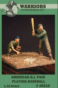 Warriors-1-35-American-G-I-Pair-Playing-Baseball-2-Resin-Figures-Kit-35216