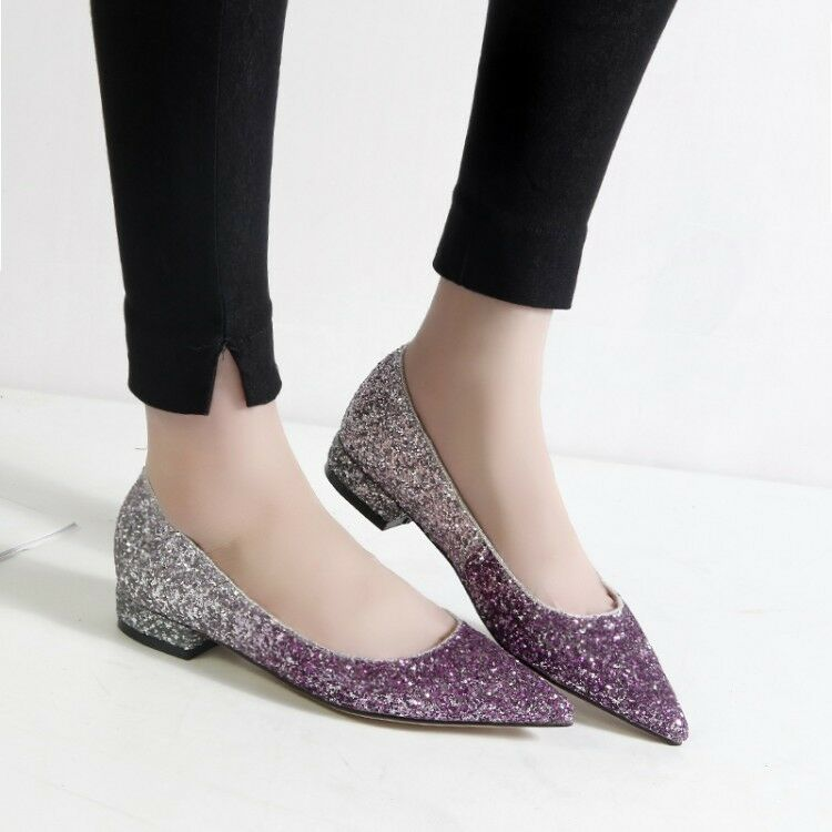 New Wouomo Pointed Toe Sequin Block Low Heels Bridal Pumps Party scarpe Slip On