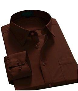 Oxford-Men-039-s-Regular-Fit-Long-Sleeve-Business-Dress-Shirt-Brown