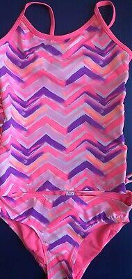 NWT Justice Swimsuit Tankini Pink Girls Swim Wear Suit 2 Pc Size 14 New Swimwear