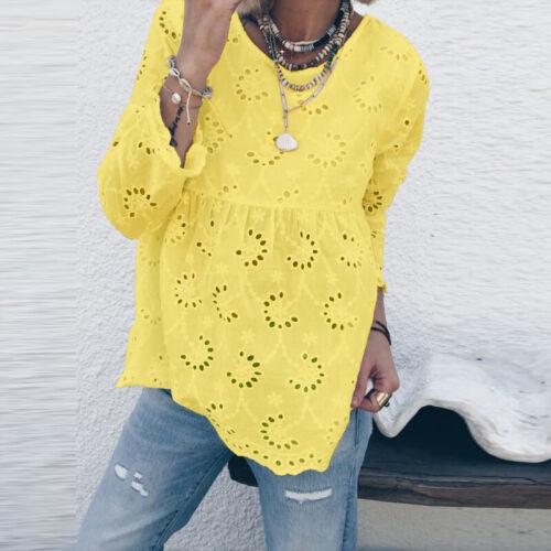 ZANZEA Damen 3//4 Arm Rundhals Tops Hemd Spitzen Baumwolle Beach Shirts Bluse Tee