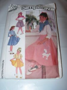 GIRLS-CHILD-CUT-SIMPLICITY-Sewing-Pattern-7269-POODLE-SKIRT-COSTUME-SIZE-7-10