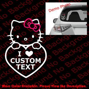 Custom-Text-HELLO-KITTY-Love-Car-Window-Laptop-Vinyl-Die-Cut-Decal-Sticker-HK006