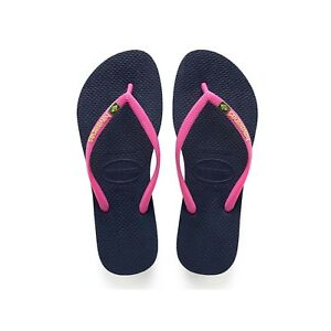 cad992df657538 Image is loading Havaianas-Slim-Flip-Flops-Navy-Blue-Pink-Strap-