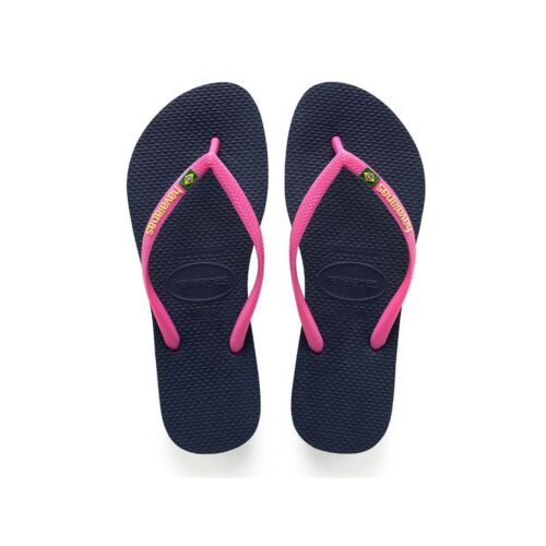 Pink Strap with Logo Beach Sandals Havaianas Slim Flip Flops Navy Blue