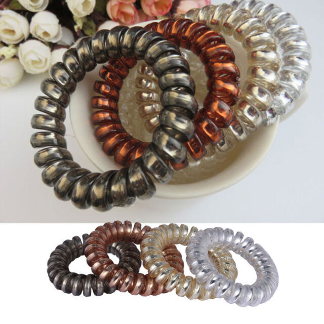 New 12PCS Rubber Telephone Wire Hair Ties Spiral Slinky Hair Head Elastic Bands
