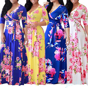 8897d28aaa 4 Color Women Boho Floral Long Maxi Dress 3 4 Sleeve Summer Beach ...
