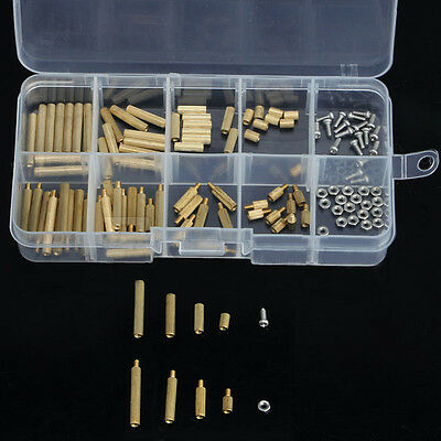 120pcs M2 Male-Female Brass Spacers Stand-off Board Screw Nut Assortment PCB Kit