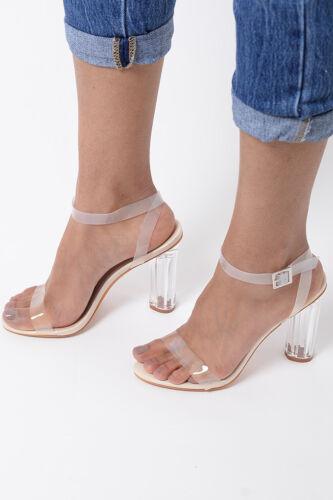 Bottines Femme Talon Haut Sandales Femme Nude clair à bretelles transparent Fête Chaussures