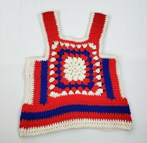 Vintage-Handmade-Red-White-Blue-Crocheted-Sleeveless-Shirt-Small