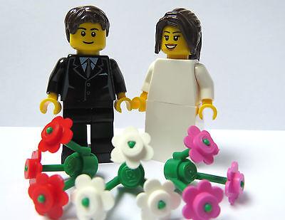 Lego Wedding Minifigures Bride Long Brown Ponytail Groom Brown Hair Cake Topper