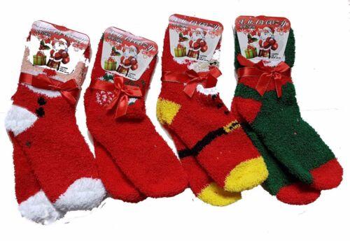 6 Pair Ladies Christmas Cosy Socks Festive Slipper Xmas Soft Warm Socks Gift 4-7