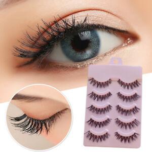 1725e6427c7 Image is loading 5Pairs-Japanese-Fake-Eyelashes-Lengthened-Natural-Messy- Cross-