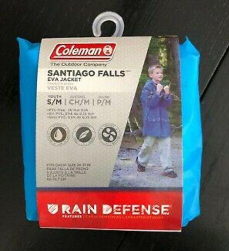 """NEW*Rain Defense Coat Coleman /""""Santiago Falls/""""EVA Jacket Youth S//M Blue."""