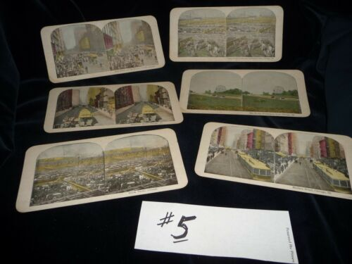 #104#5 antique MIX LOT 0f 6 stereoview cards photographic images oF CHICAGO