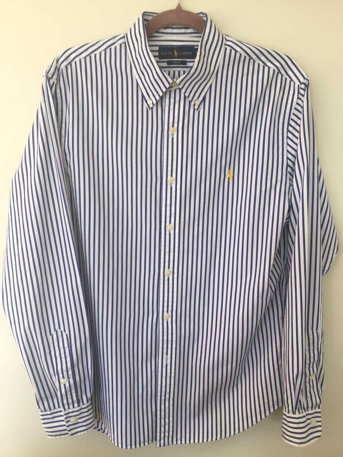 Ralph Lauren Polo Slim Fit Stripe Shirt, Large