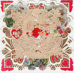Valentine-Vintage-ca-1890-1910-Unused-Card-w-Embossed-Paper-Doily-amp-Text-Poem