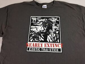 Nearly-Extinct-Exotic-Thai-Stick-T-Shirt-Mens-XL-Tiger-Gray-Wildlife-Nature-Tee