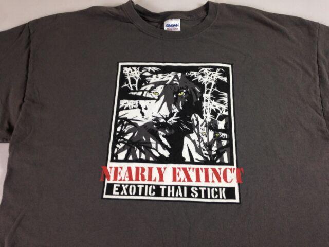 Nearly Extinct Exotic Thai Stick T-Shirt Mens XL Tiger Gray Wildlife Nature Tee
