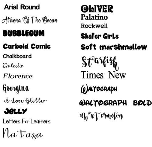 5 x personnalisé Personnalisé Nom Vinyle Stickers Autocollants 22 Polices et couleurs