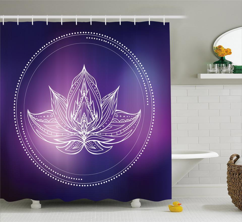 Galaxy Mandala Shower Curtain Fabric Bathroom Decor Decor Decor Set with Hooks 4 Größes ccd4dc