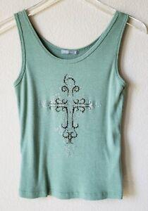 Nally-amp-Millie-Women-039-s-Tank-Top-Shirt-Cross-Embellished-Green-Ribbed-Size-Medium